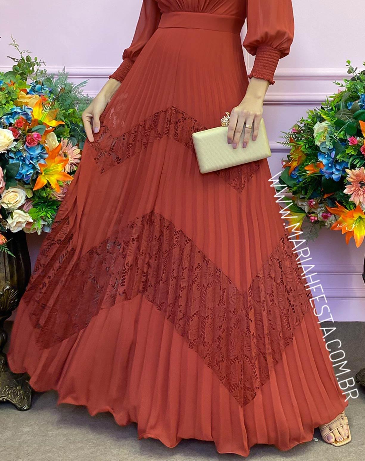 Vestido Terracota com Saia Plissada