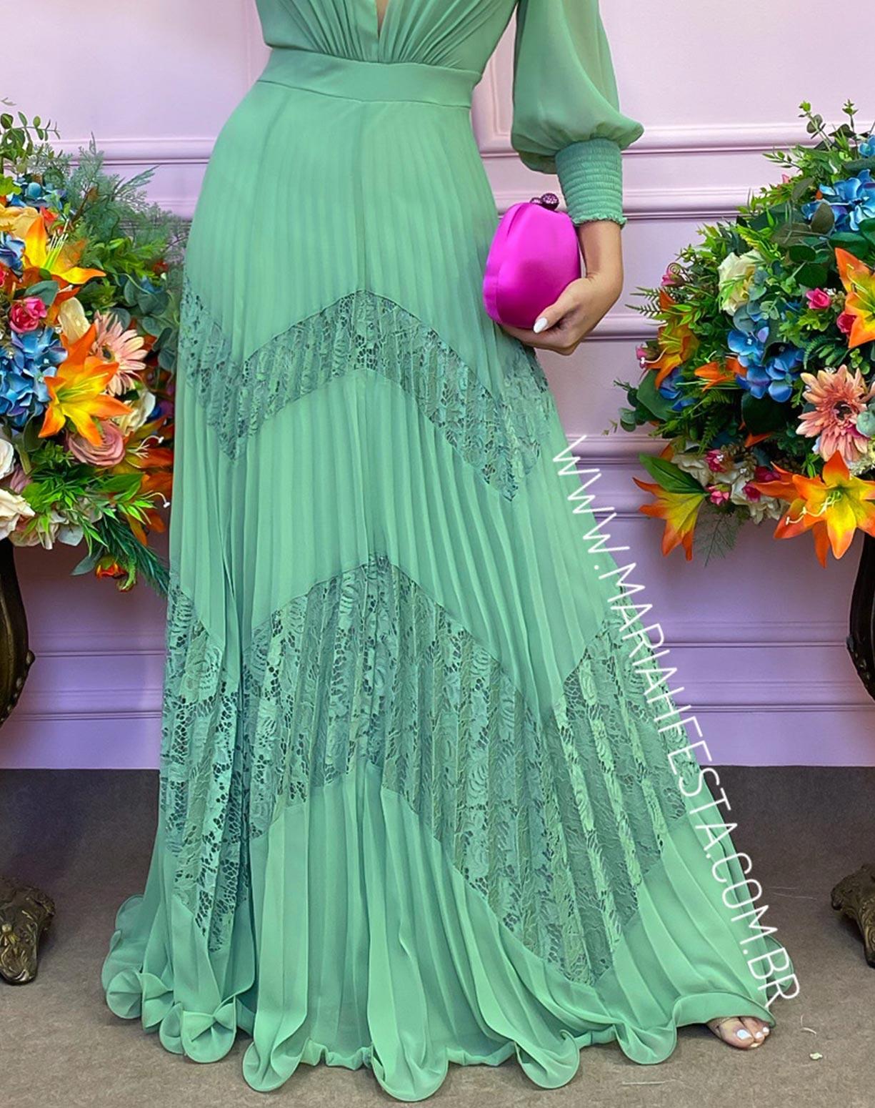 Vestido Verde Pistache com Saia Plissada