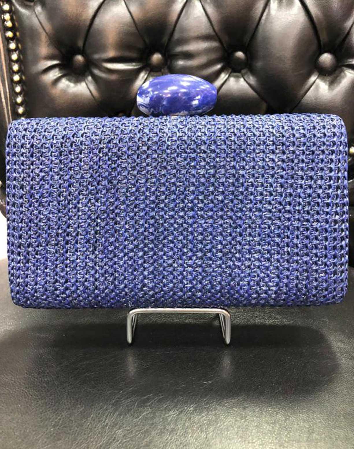 Clutch Azul Com Feixe de Madrepérola