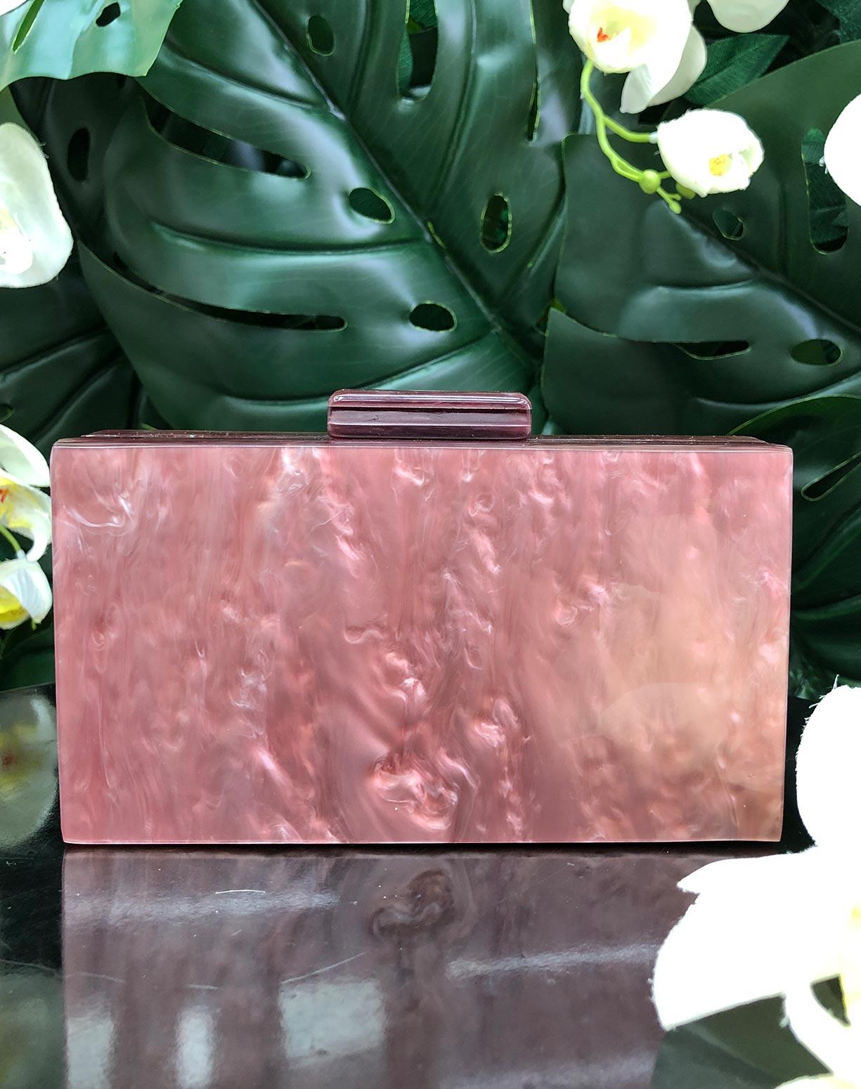 Clutch em Madrepérola Rosa Queimado