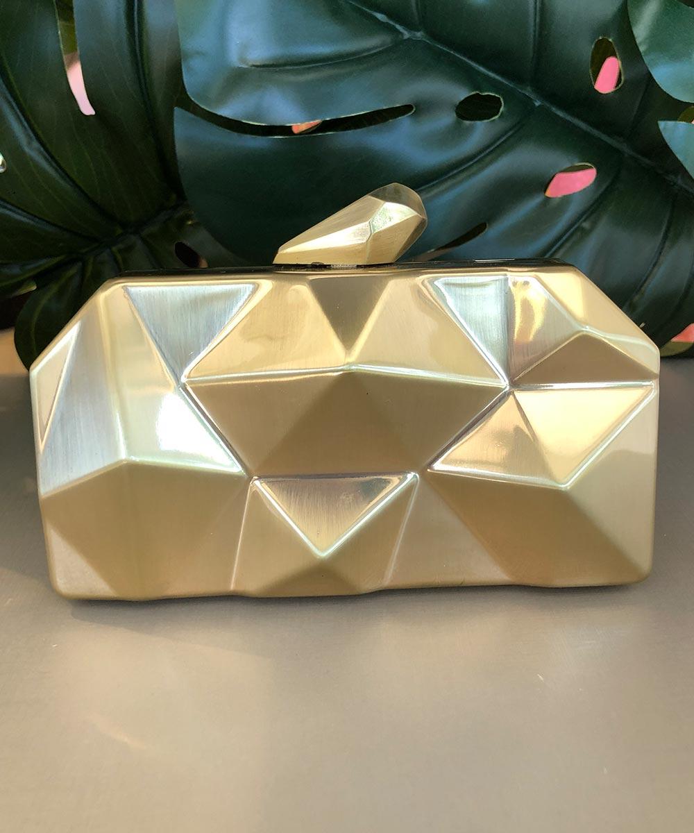 Clutch Geométrica Dourada Fosco