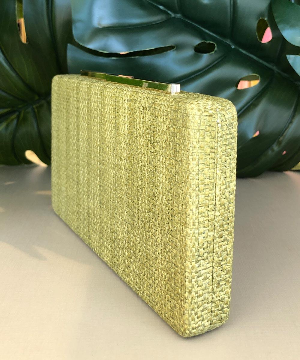 Clutch Slim Quadrada em Palha Tresse Verde Pistache