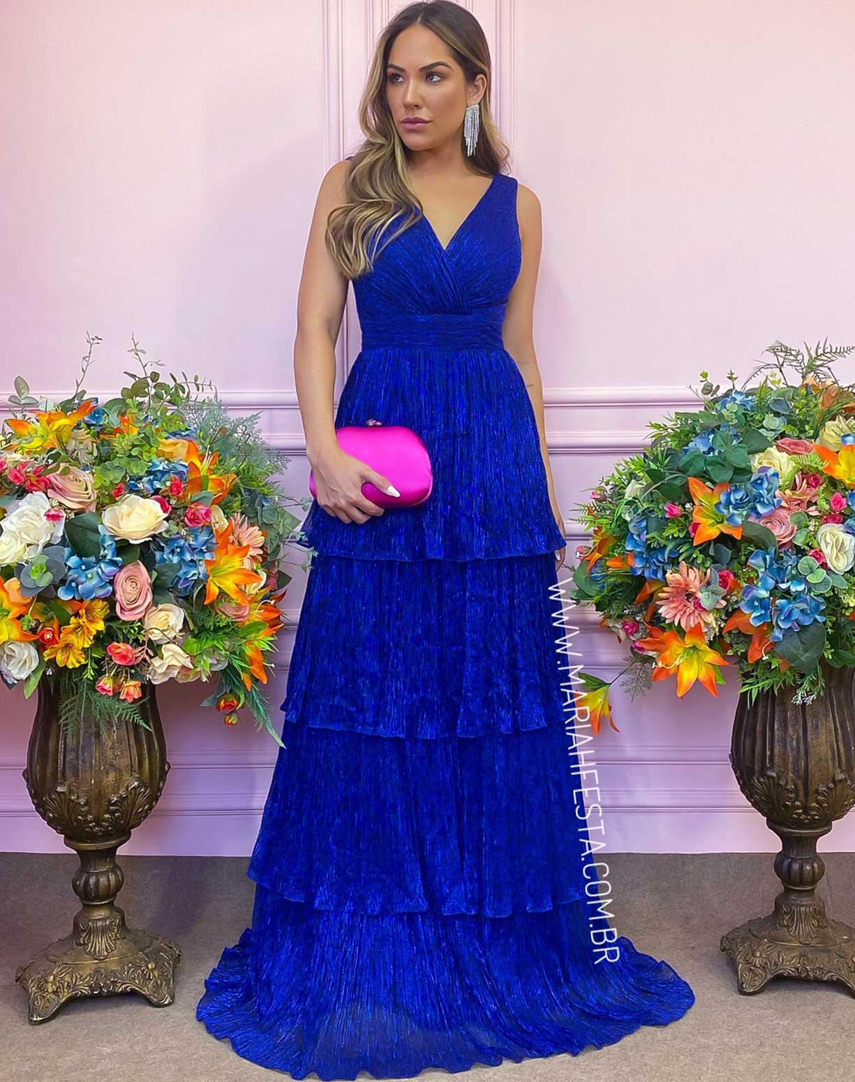 Vestido Azul Royal em Tule de Lurex com Saia em Camadas
