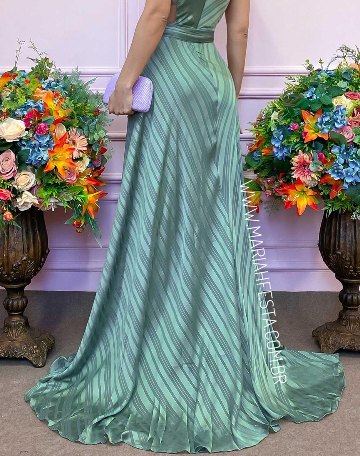 Vestido Verde Oliva em Listras e fios de Lurex
