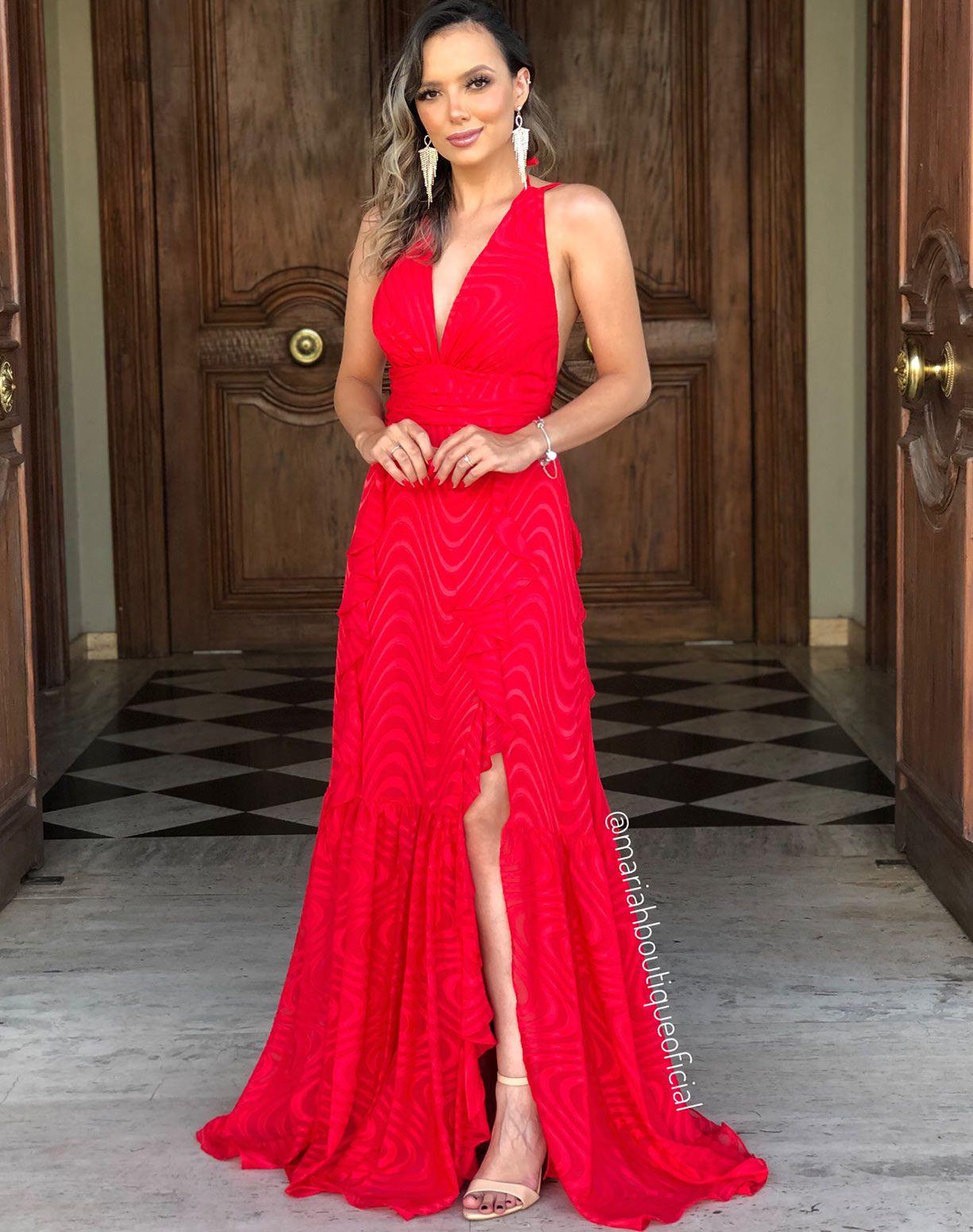 Vestido Vermelho Texturizado Com Babados