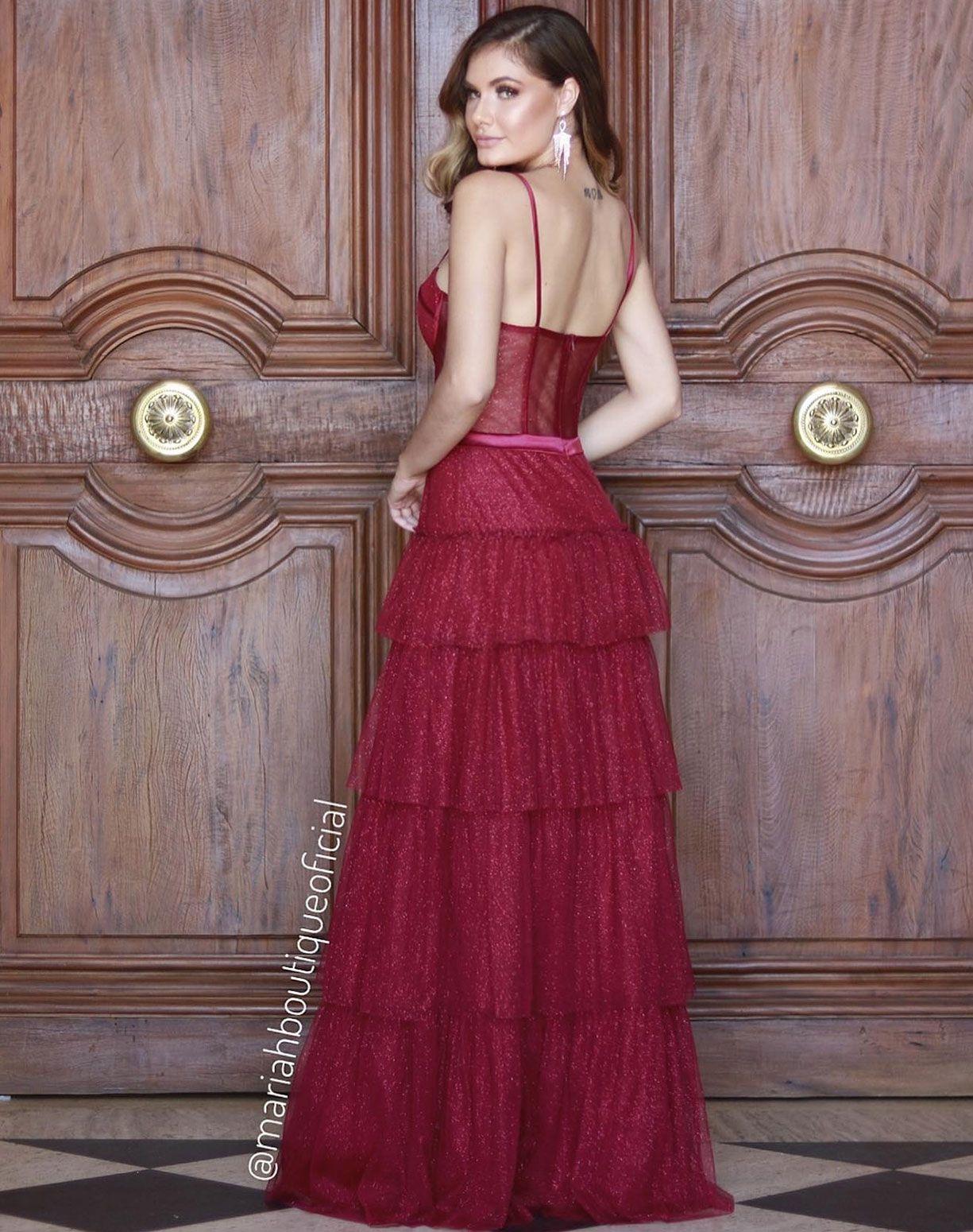 Vestido Marsala Tule Glitter com Corpete