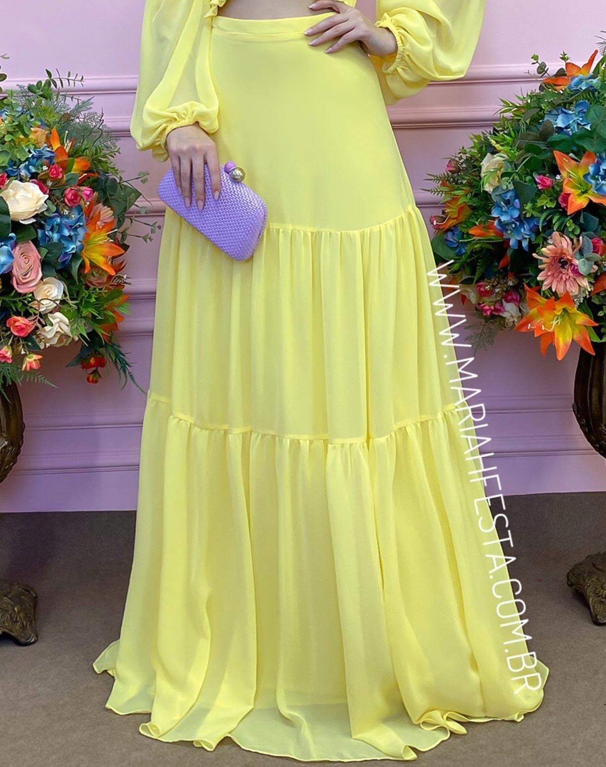 Vestido Amarelo com Manga Ciganinha e Decote na Cintura