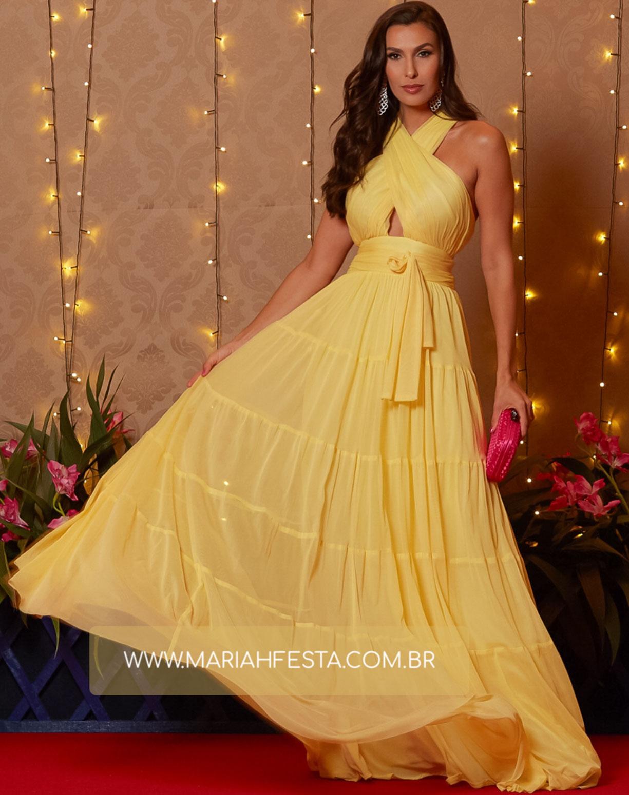 Vestido Amarelo em Tule com Alças Transpassadas