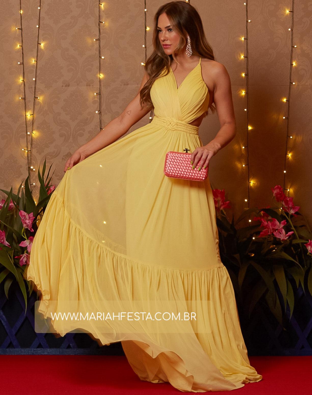 Vestido Amarelo em Tule com Cinto em Macramê