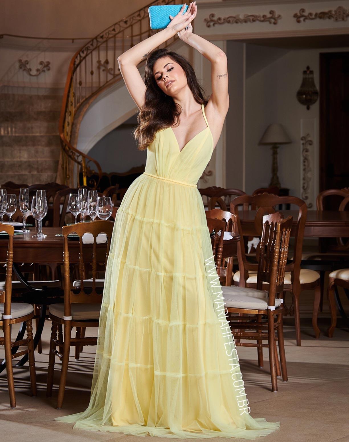 Vestido Amarelo em Tule com Saia Evasê em Camadas