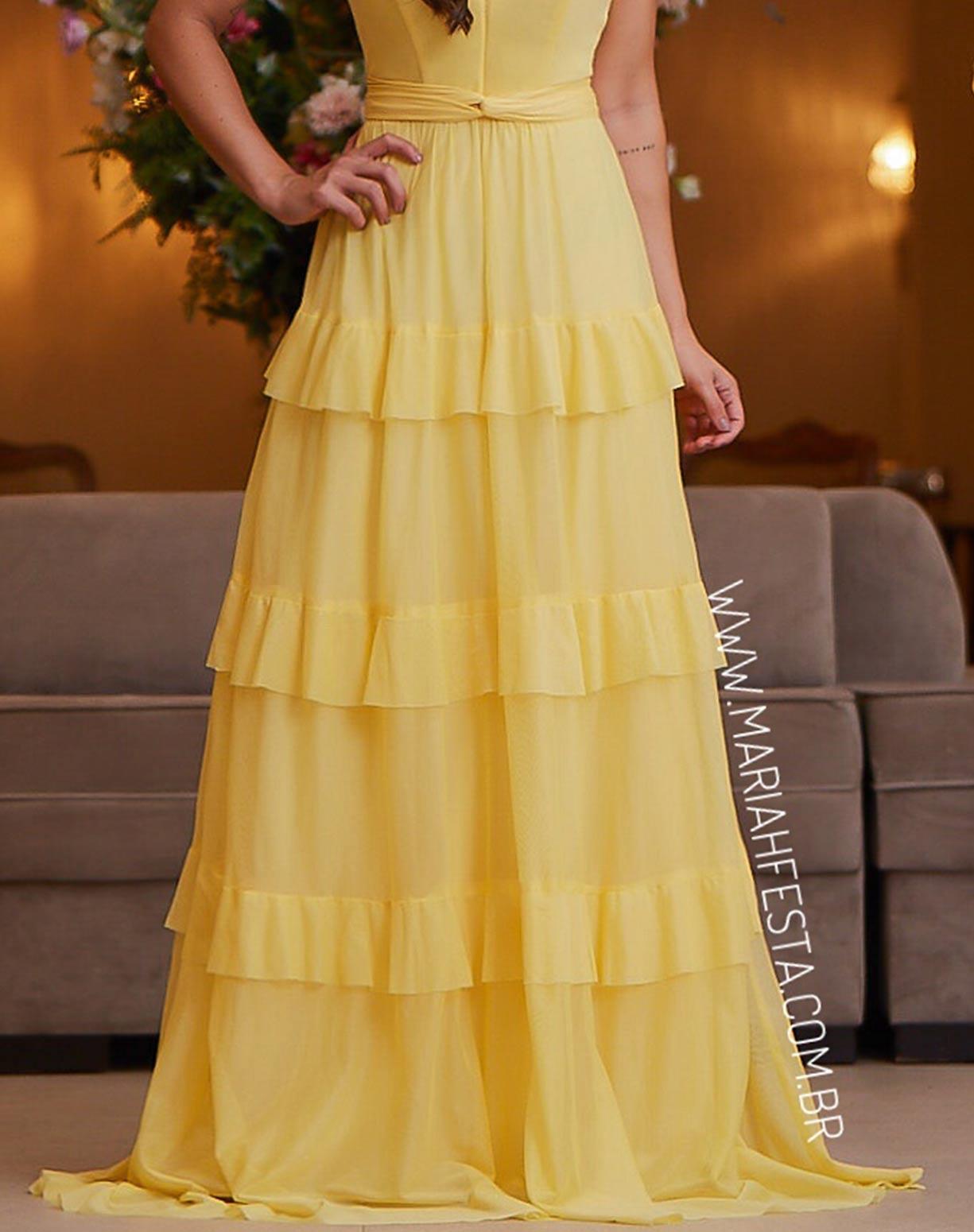 Vestido Amarelo em Tule de Camadas