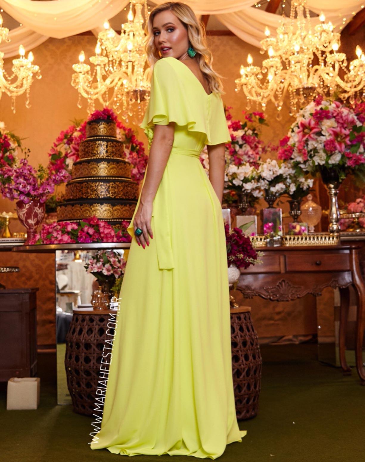 Vestido Amarelo Lima com Manga Curta e Flores 3D