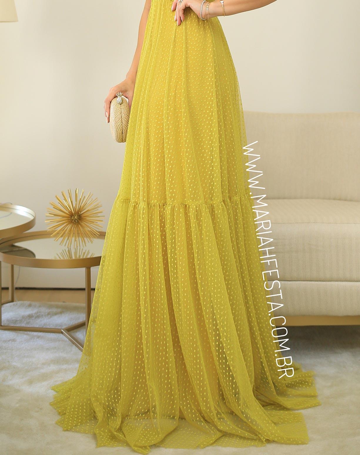 Vestido Amarelo Mostarda em Tule Texturizado