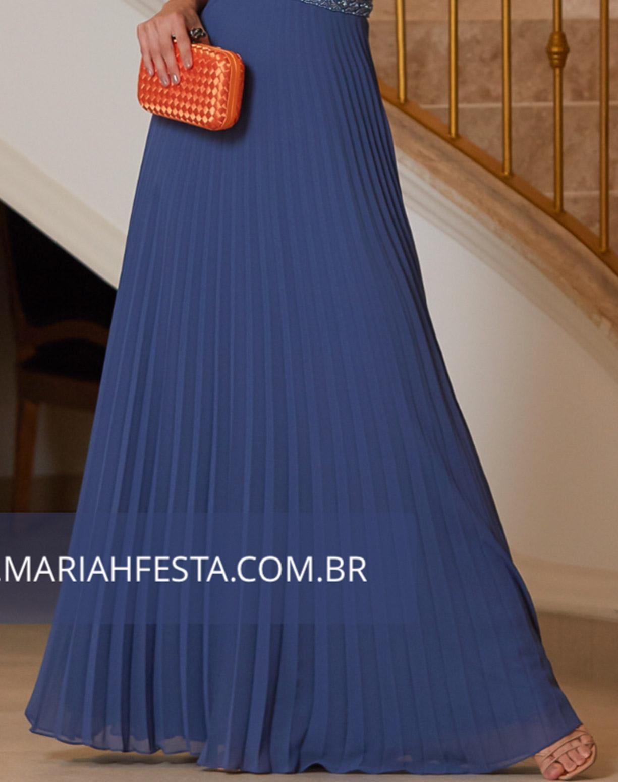 Vestido Azul Denim Plissado com Bordado na Cintura