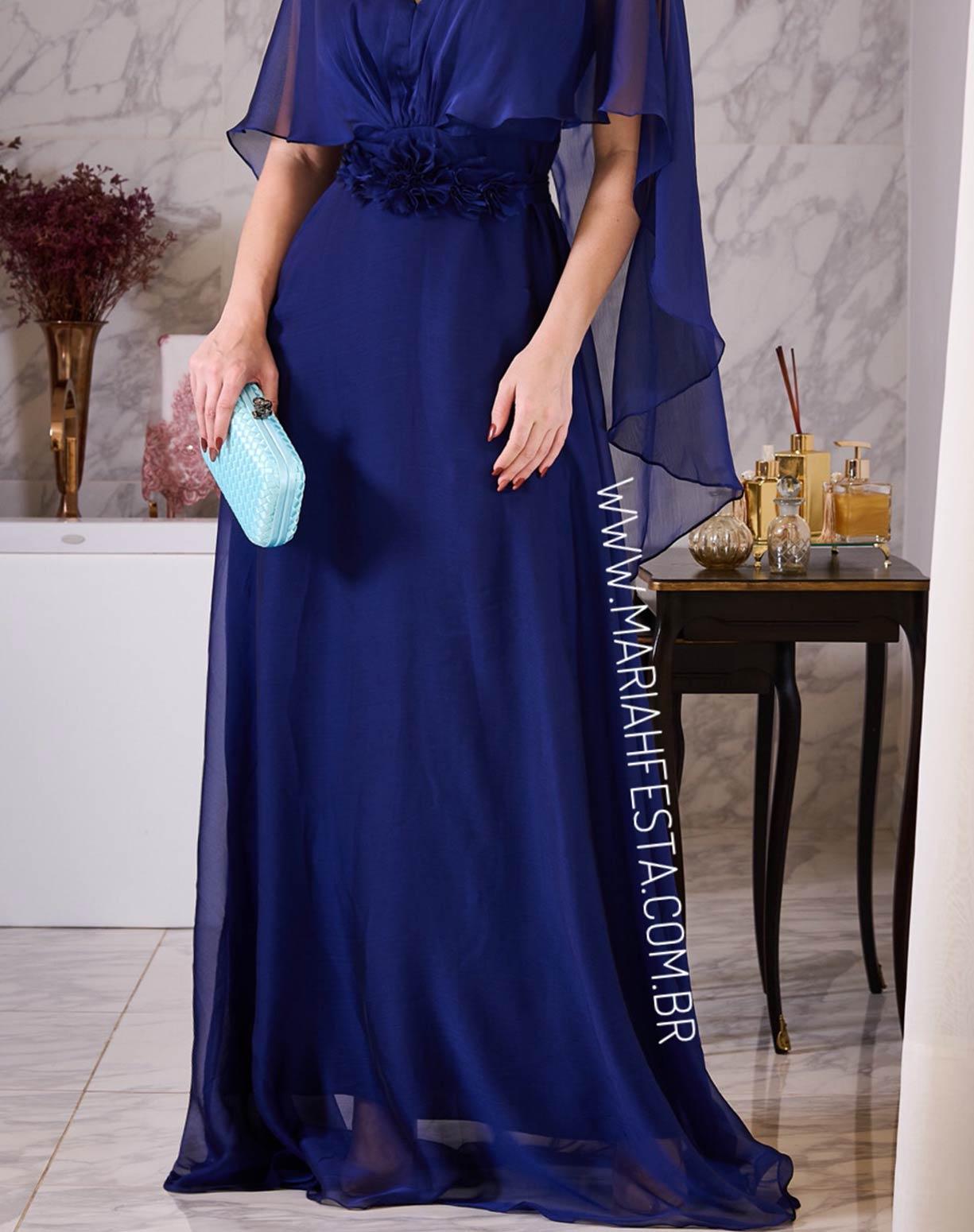 Vestido Azul em Organza com Aplicação em Flores no Cinto