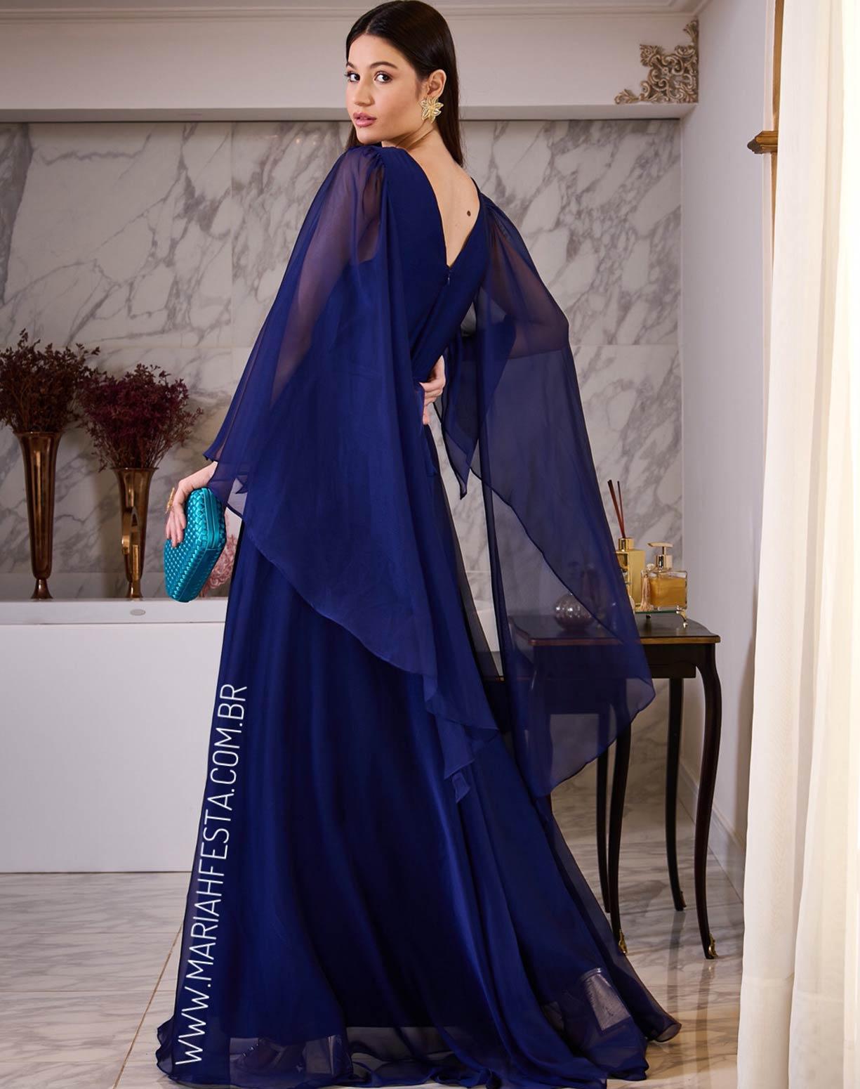 Vestido Azul Manga Capa em Organza