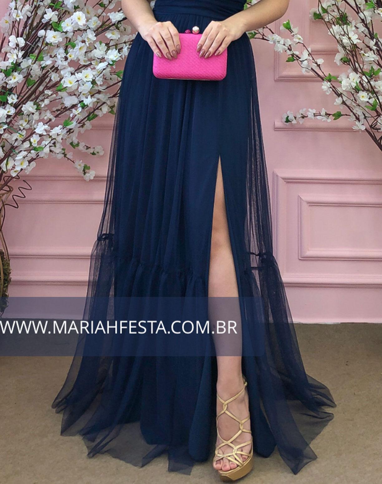 Vestido Azul Marinho em Tule de Saia Evasê com Fenda