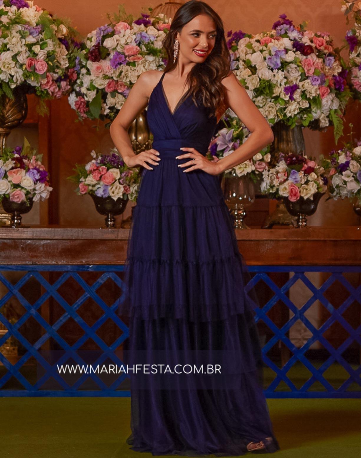Vestido Azul Marinho com Camadas em Tule e Alça Dupla