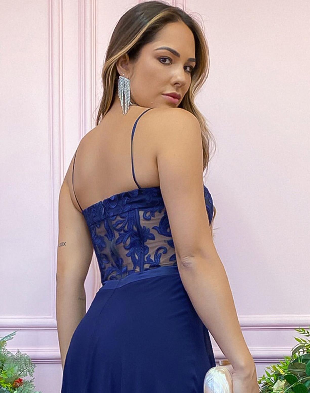 Vestido Azul Marinho com Corpete em Renda