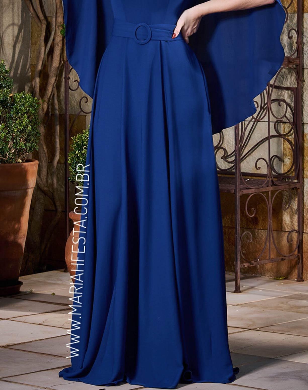 Vestido Azul Marinho com Manga Capa Godê