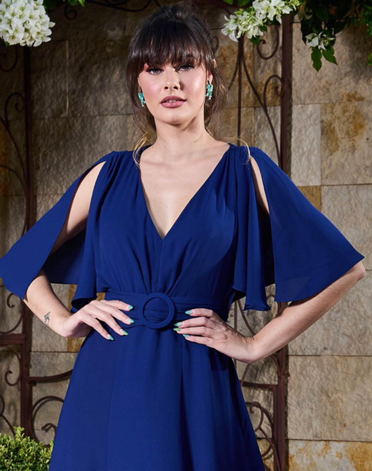 Vestido Azul Marinho com Manga Curta Godê
