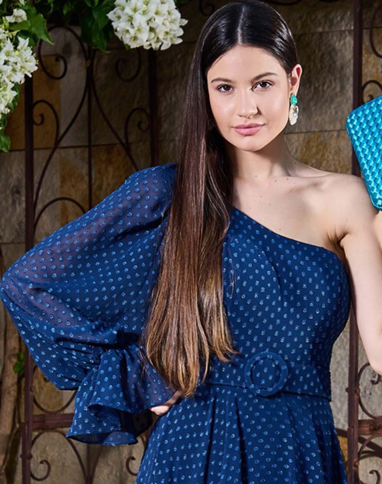 Vestido Azul Marinho de um Ombro Só Texturizado