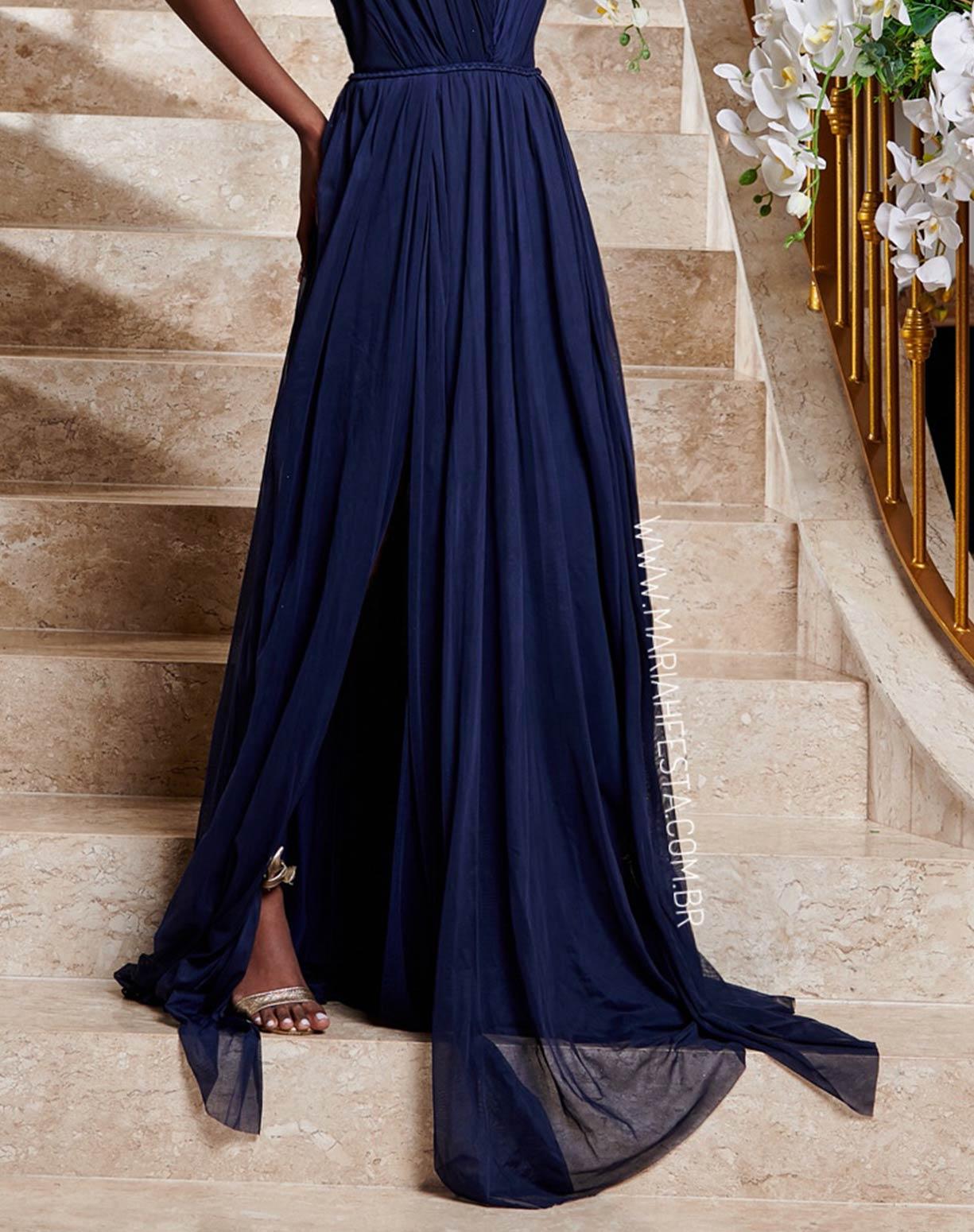 Vestido Azul Marinho em Tule com Duas Fendas