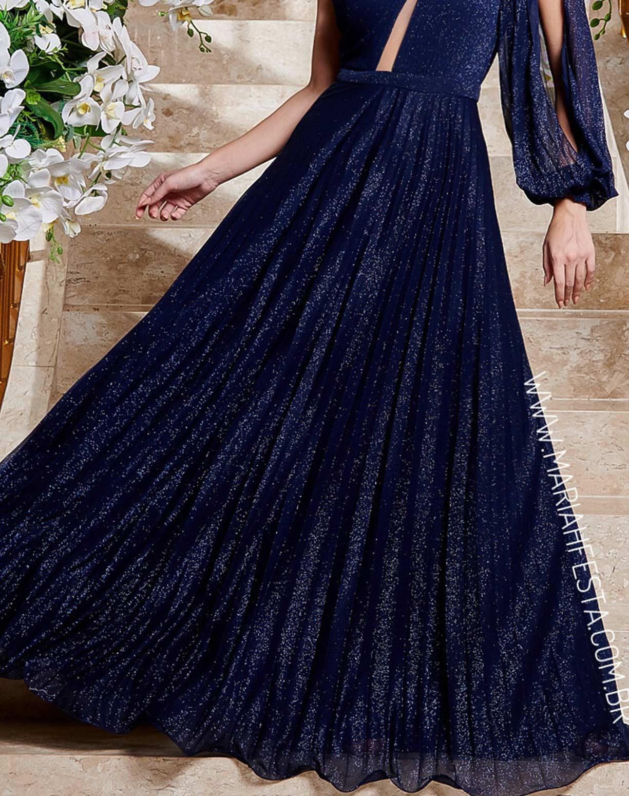 Vestido Azul Marinho em Tule Glitter Plissado de Um Ombro Só