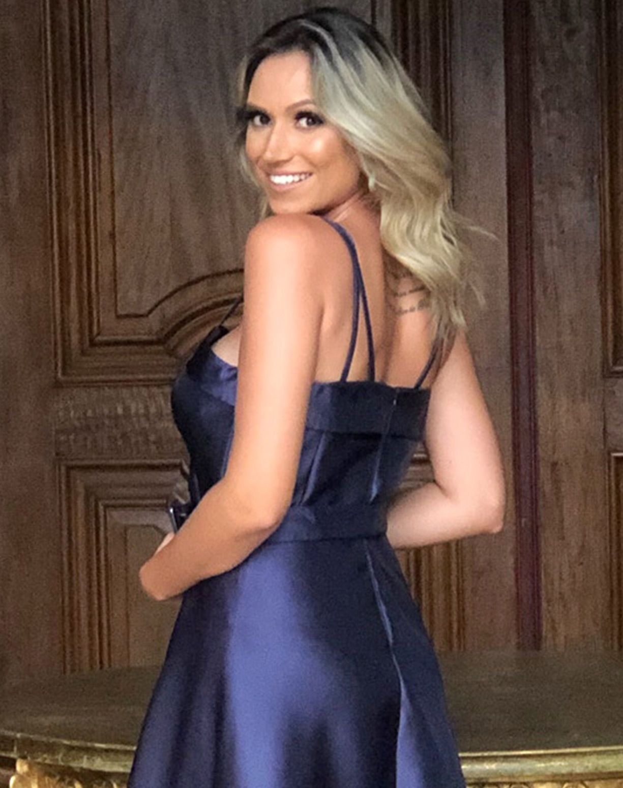 Vestido Azul Marinho em Zibeline