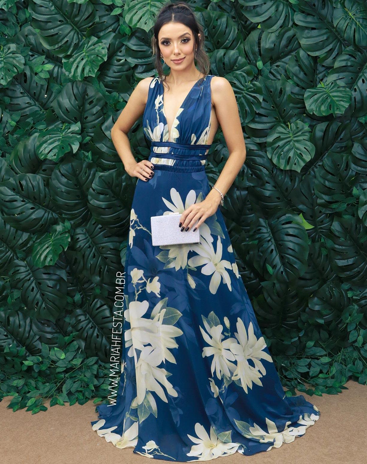 Vestido Azul Marinho Floral
