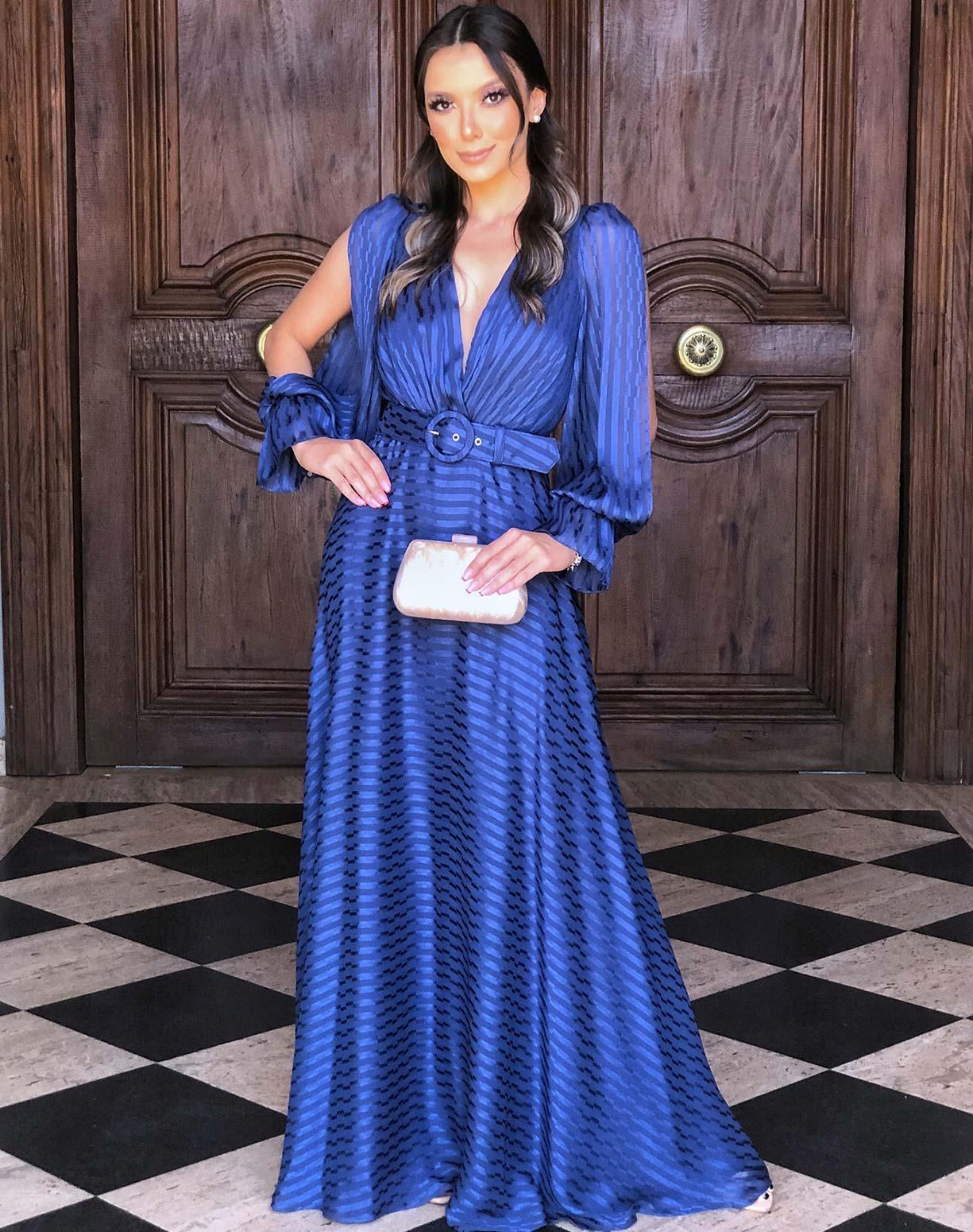 Vestido Azul Marinho Listras em Seda