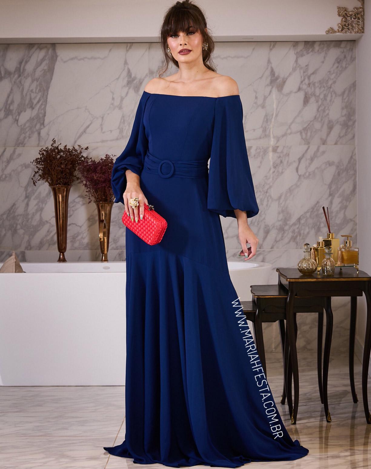 Vestido Azul Marinho Ombro a Ombro com Manga Longa