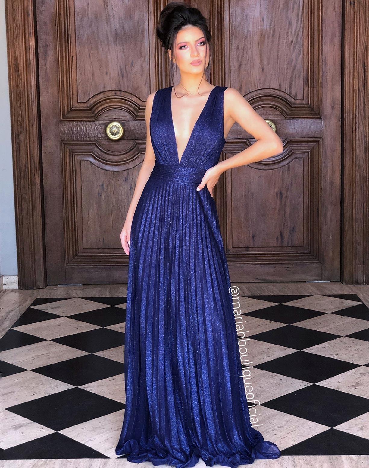 Vestido Azul Marinho Plissado Tule Glitter