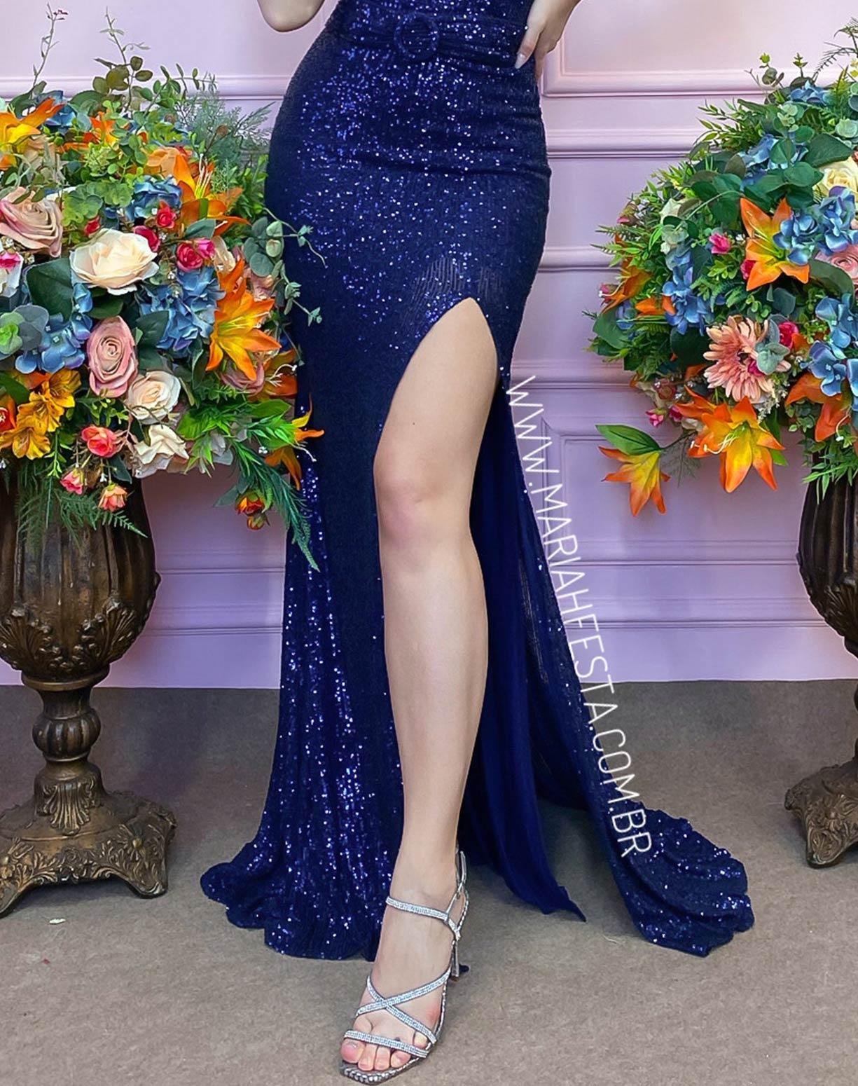 Vestido Azul Marinho Tomara que Caia em Paetê