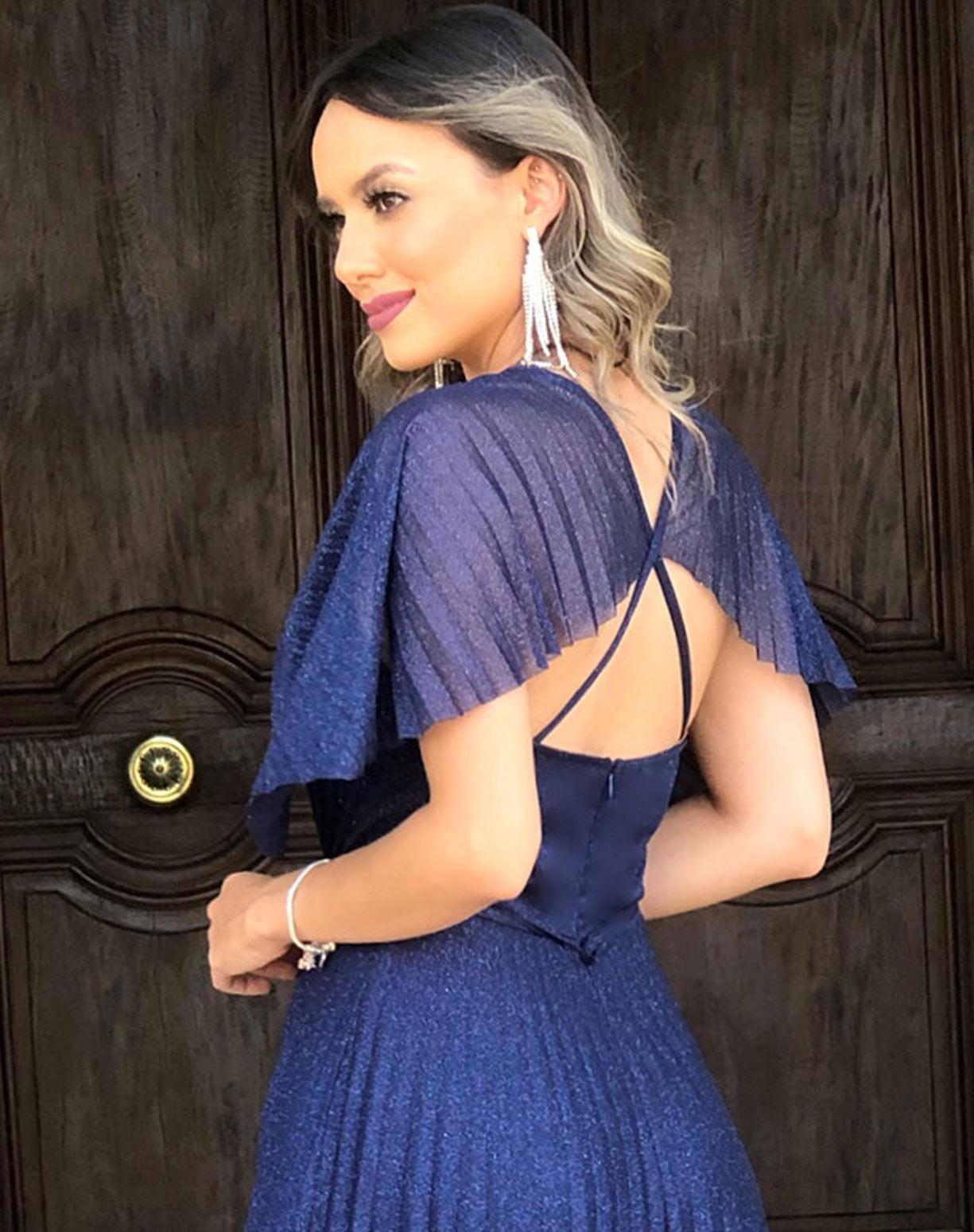 Vestido Azul Marinho Tule Glitter com Saia e Manga Plissada