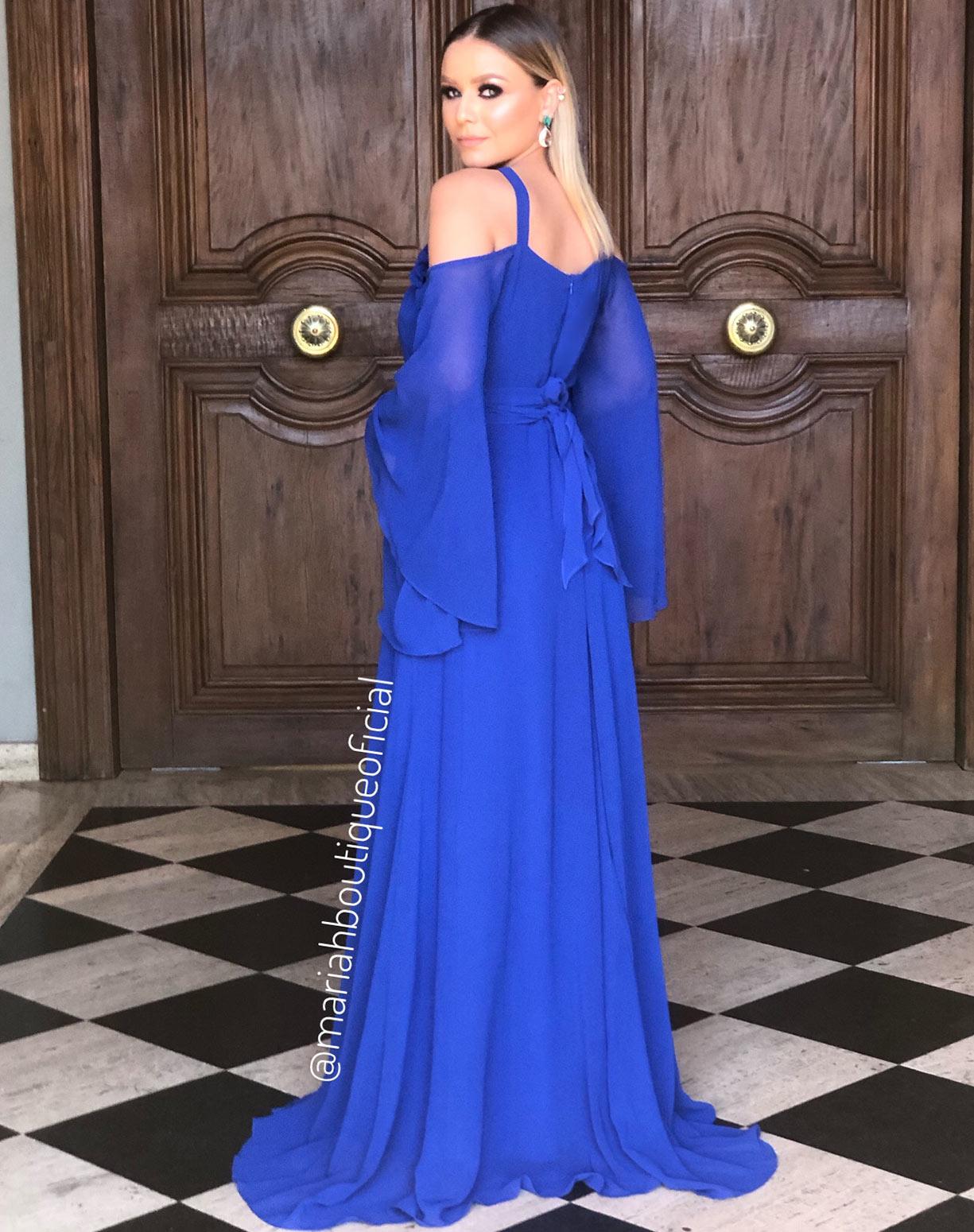 Vestido Azul Royal Com Aplicação em Flores