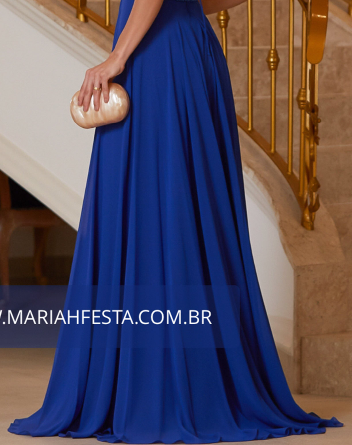 Vestido Azul Royal com Corpo Bordado