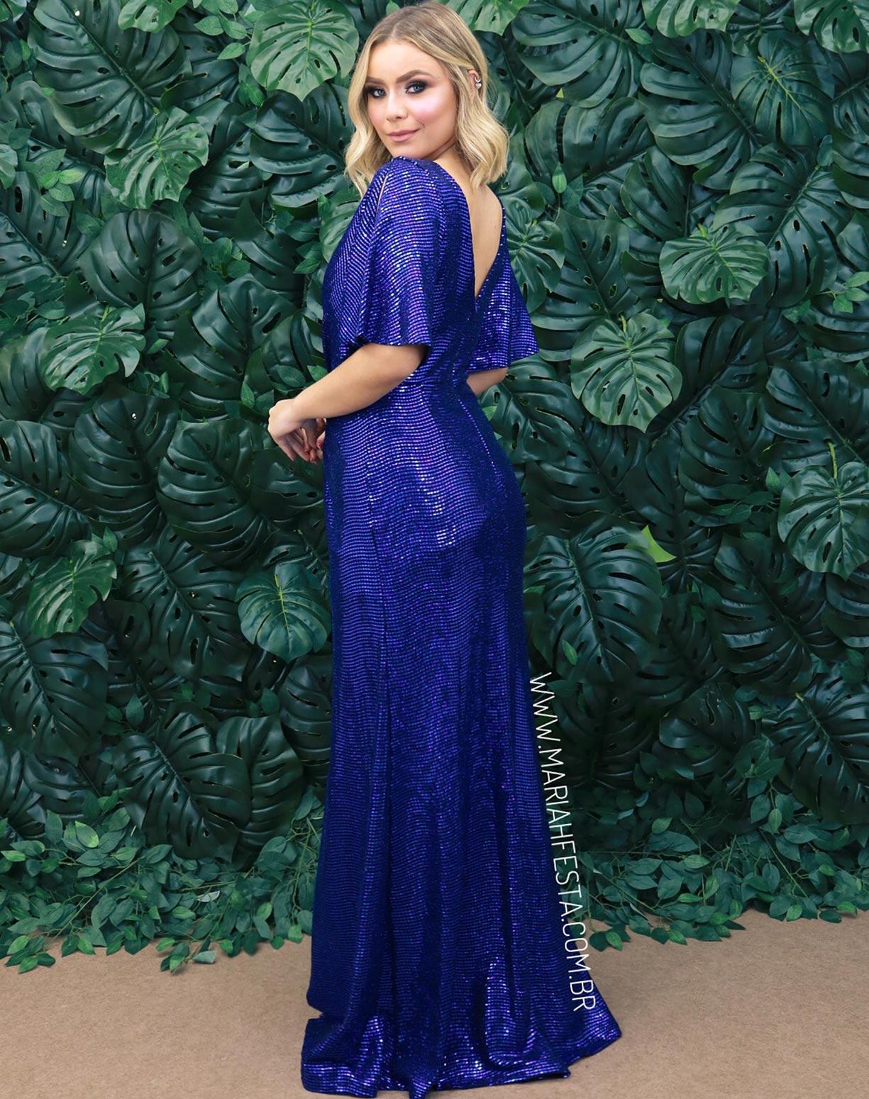 Vestido Azul Royal com Fenda em Paetê