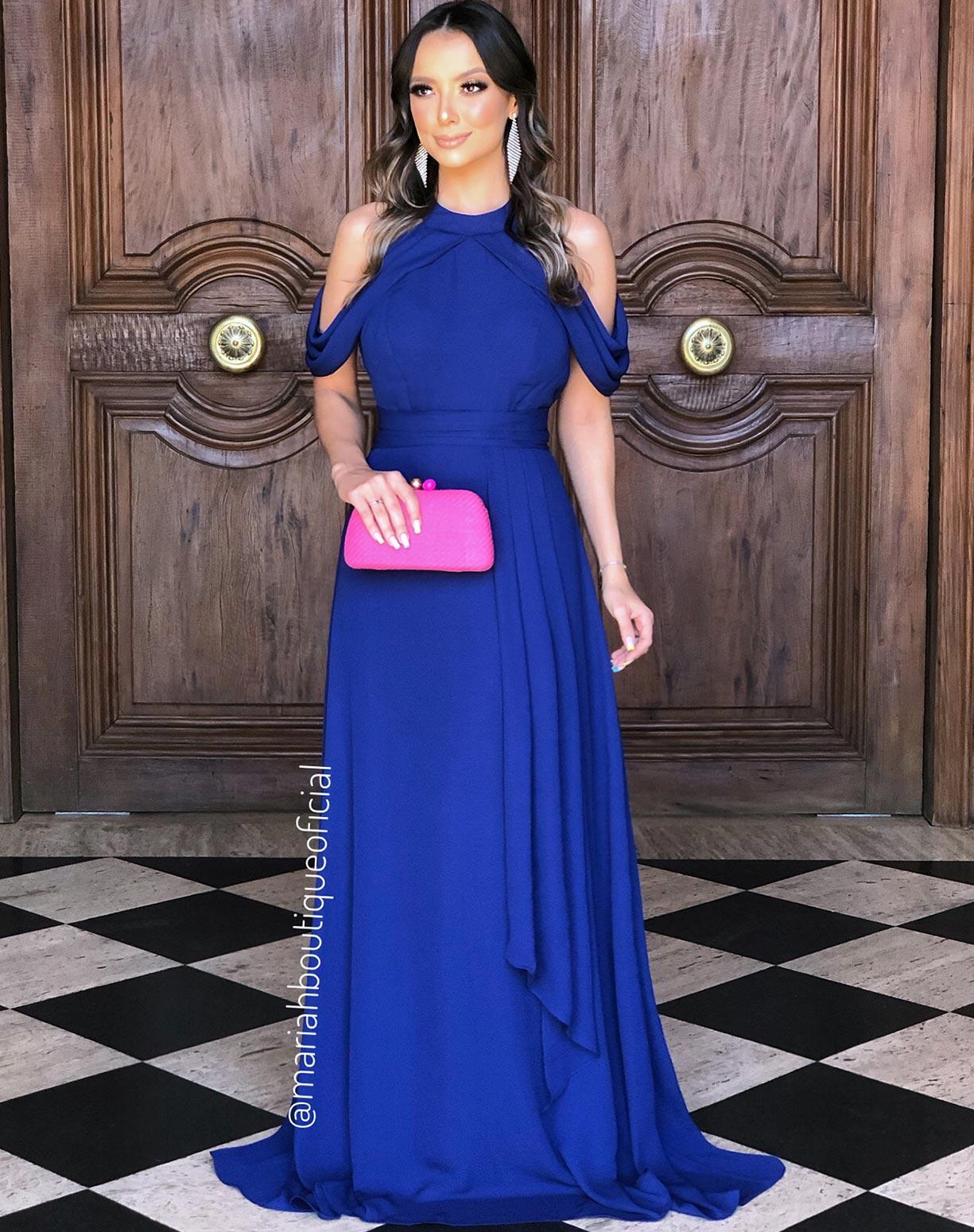 Vestido Azul Royal Com Manga Ciganinha
