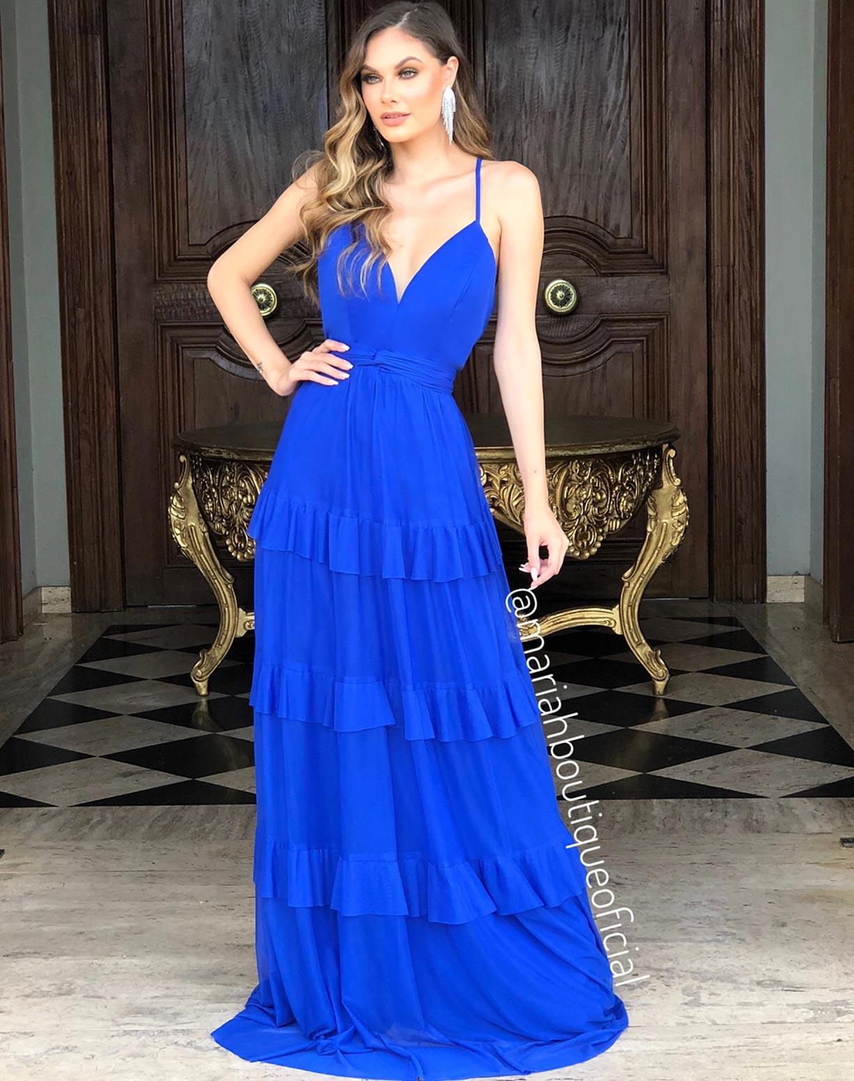 Vestido Azul Royal com saia em camadas