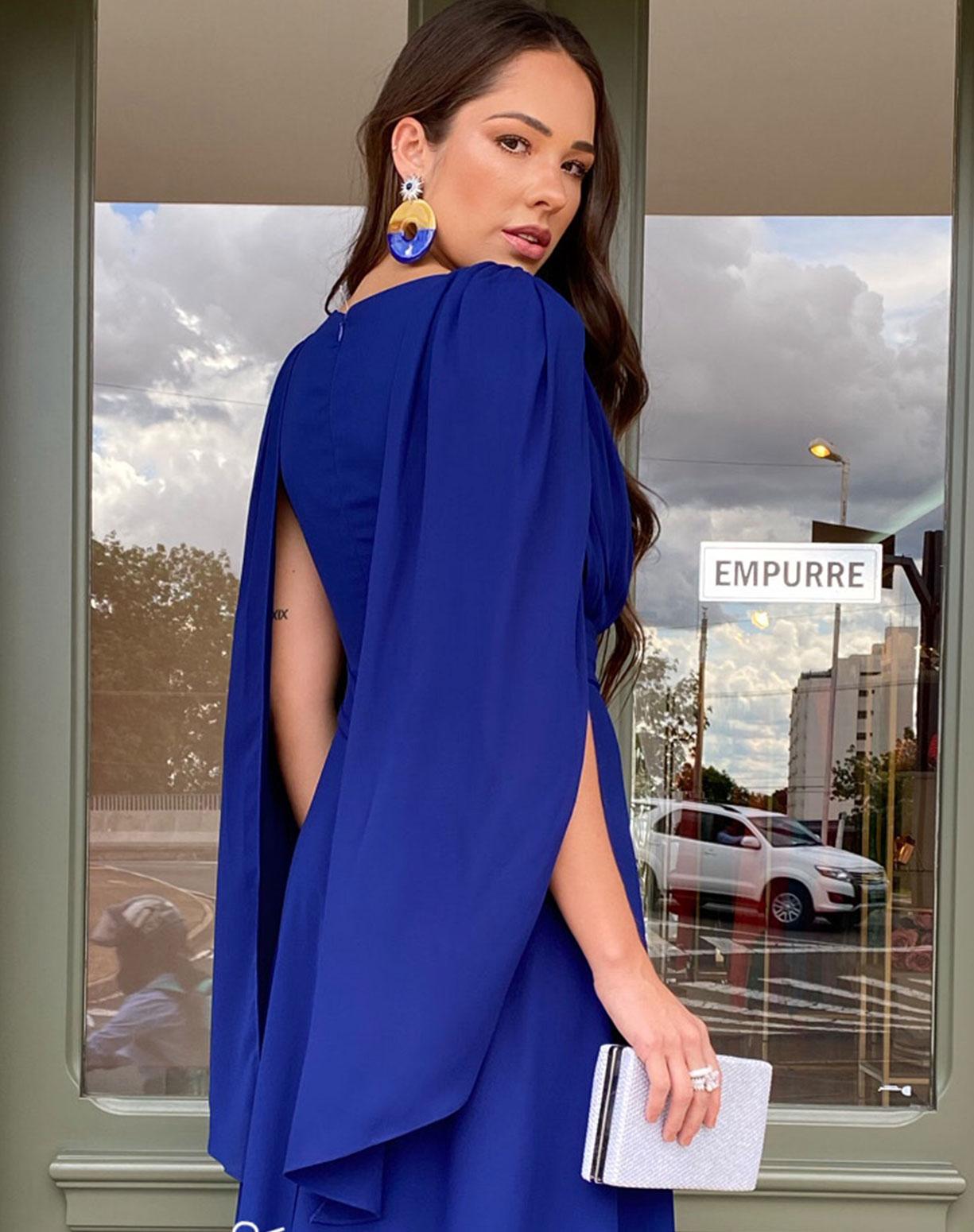 Vestido Azul Royal com Manga Fluida