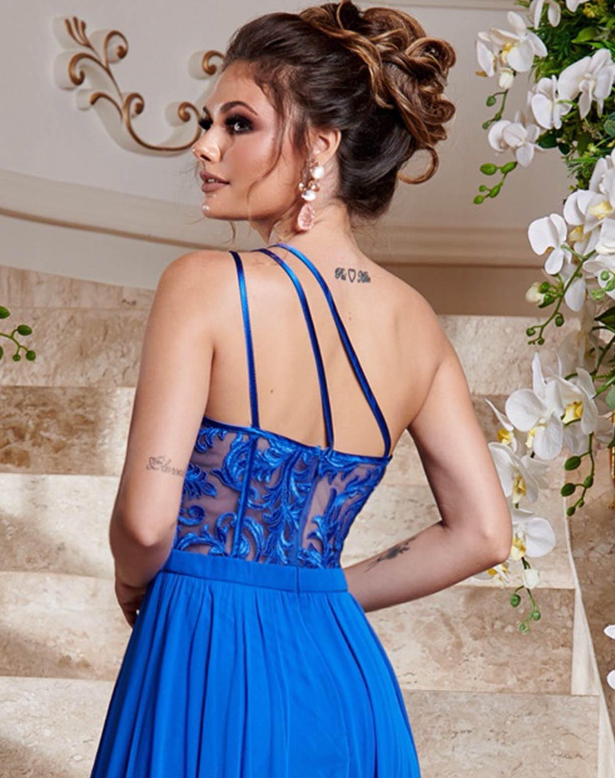 Vestido Azul Royal de um Ombro Só