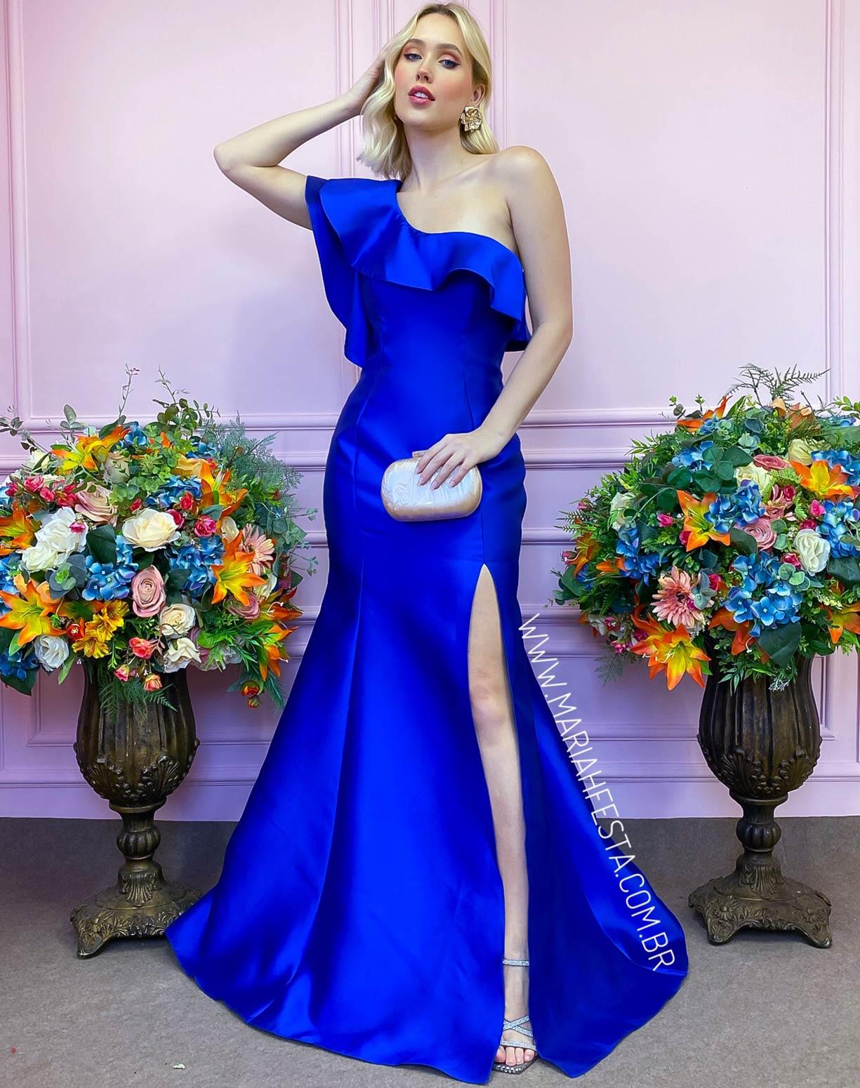 Vestido Azul Royal de Um Ombro Só em Zibeline