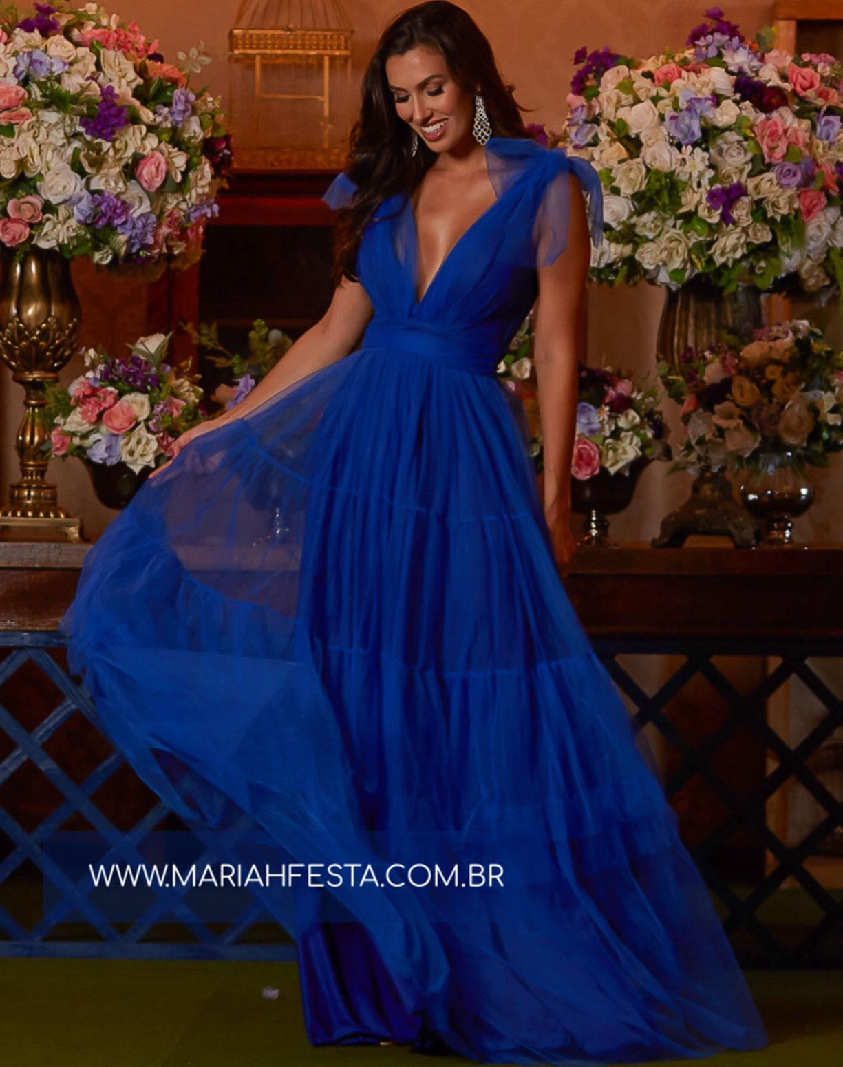 Vestido Azul Royal em Tule com Alça de Amarrar e Saia com Babados
