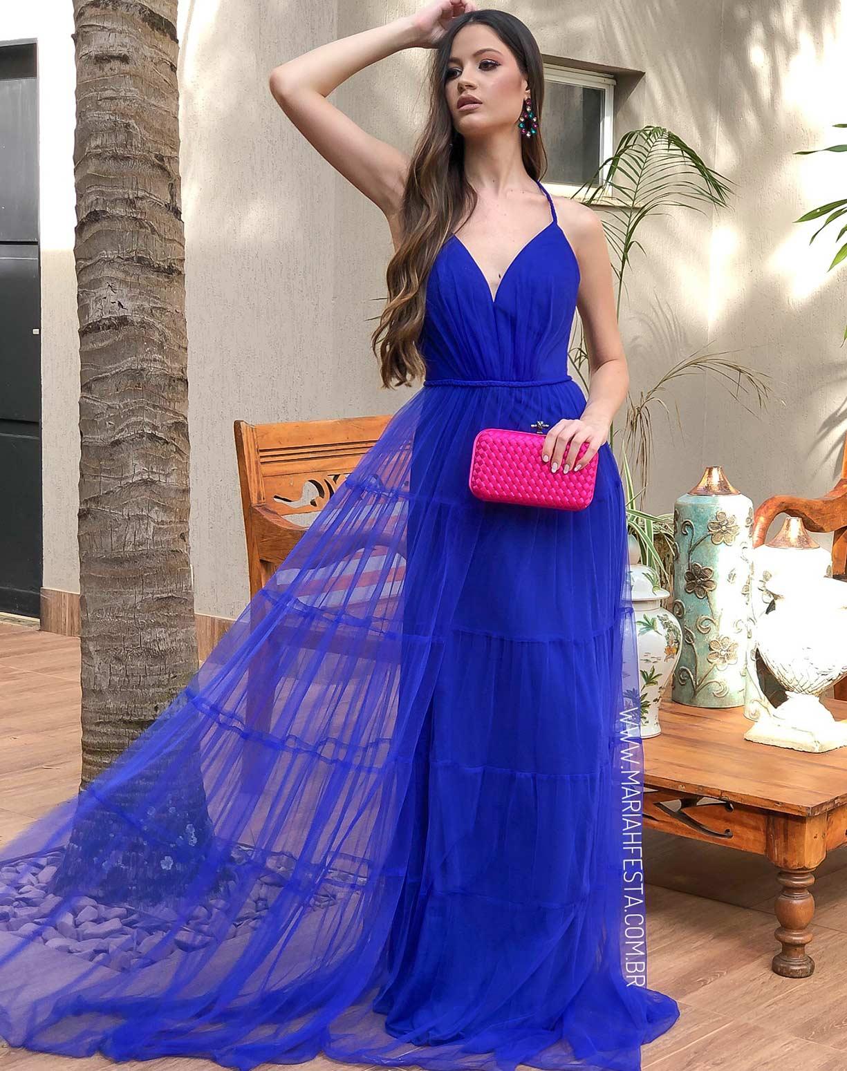 Vestido Azul Royal em Tule com Saia Evasê em Camadas