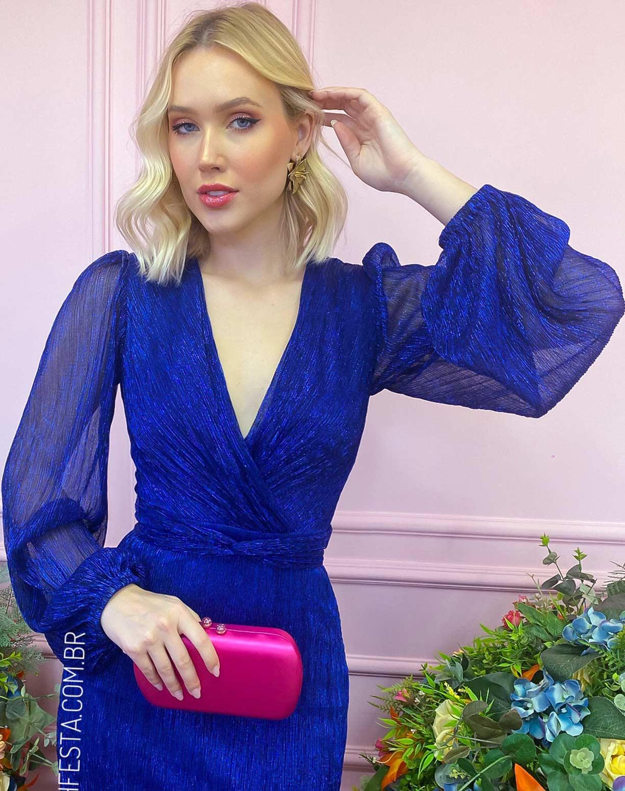 Vestido Azul Royal em Tule de Lurex com Manga Longa