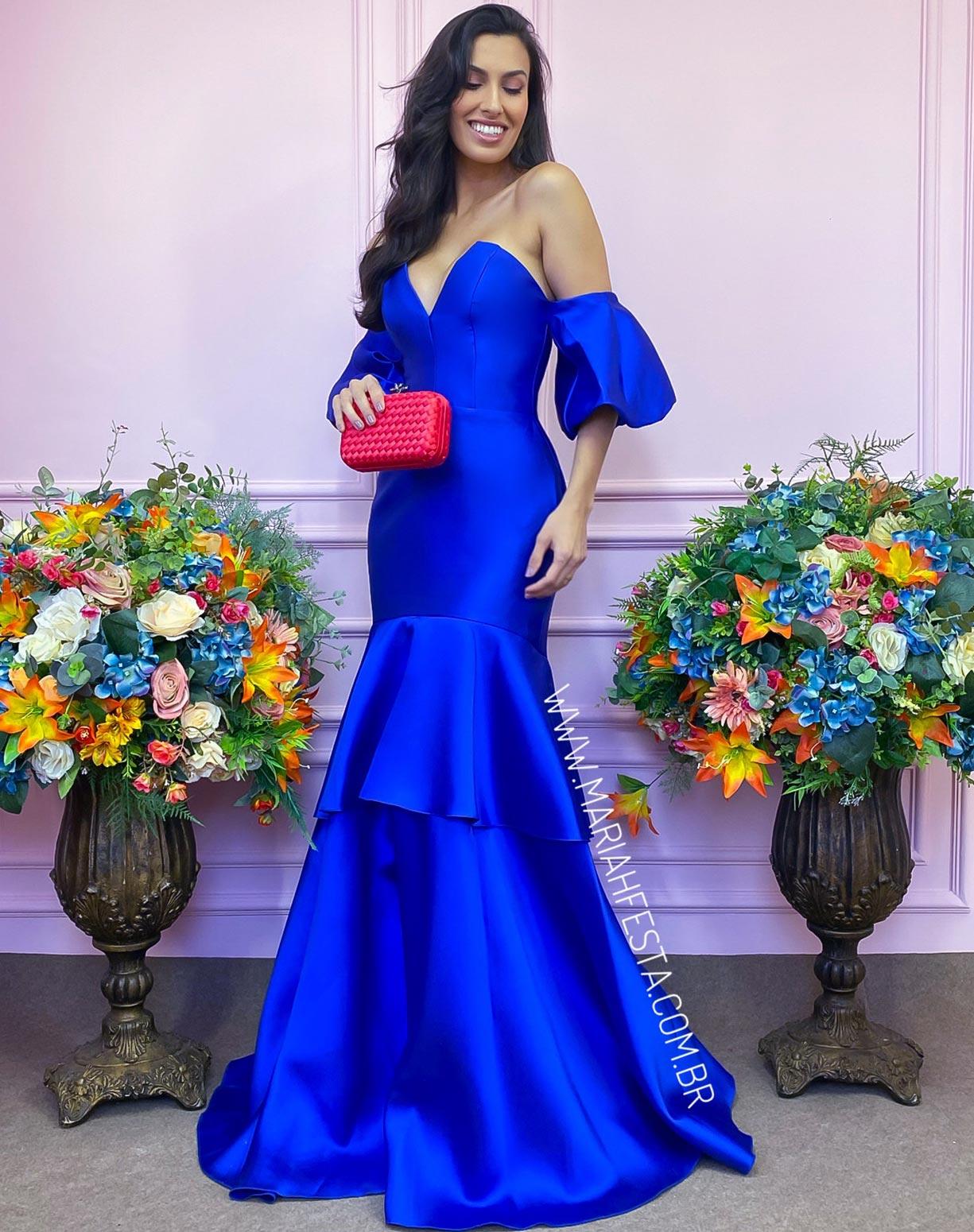 Vestido Azul Royal em Zibeline Com Manga Ombro o Ombro Bufante