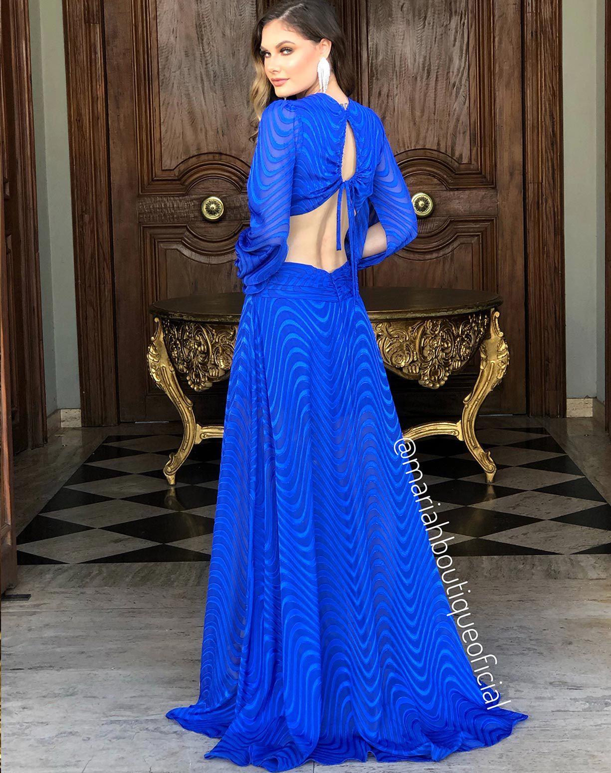 Vestido Azul Royal Manga Longa Com Fendas