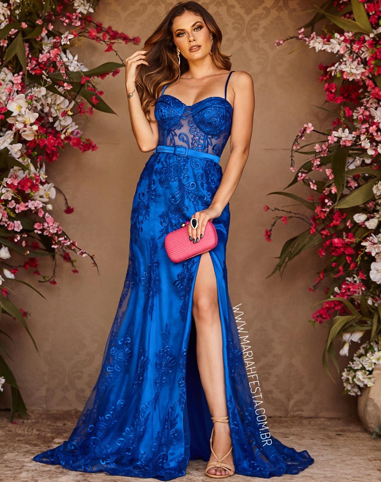 Vestido Azul Royal Sereia em Renda