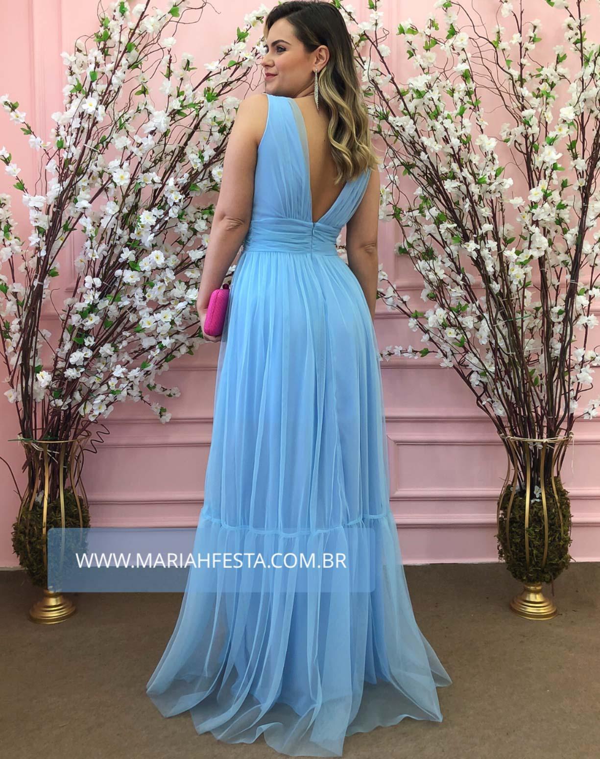 Vestido Azul Serenity em Tule de Saia Evasê com Fenda